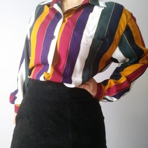 colorful striped button-down